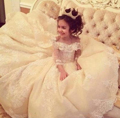Luxury Ball Gown Flower Girl Dresses | Long Sleeves Girl Party Dresses_3
