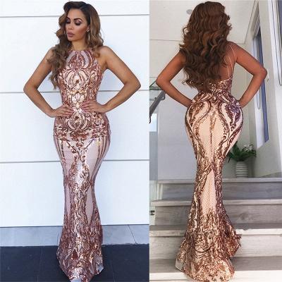 Sleeveless Open Back Sequins Prom Dresses | Spaghetti Straps Mermaid Champagne Evening Dress_3