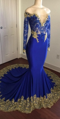 Off-the-shoulder Long Mermaid Prom Dresses | Long Sleeves Appliques Evening Gowns_3