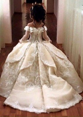 Luxury Ball Gown Flower Girl Dresses | Long Sleeves Girl Party Dresses