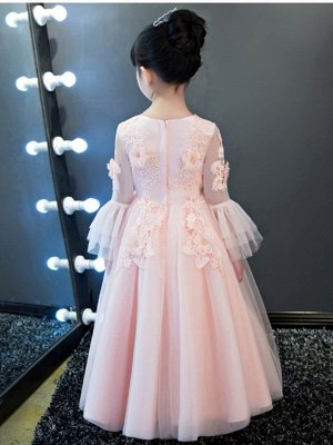 Cute A-Line Tulle Lace Long Sleeves Appliques Flower Girl Dress_3