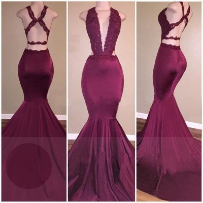 Sexy Mermaid Prom Dresses Deep V-Neck Lace Beading Crisscross Back Evening Gowns_2