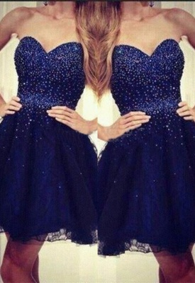 Sequins Navy-Blue Short Strapless Beading  Sweetheart Homecoming Dresses_2