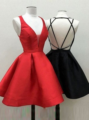 Sexy V-Neck Red Homecoming Dresses | A-Line Backless short Cocktail Dresses_5