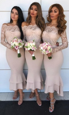 Sexy Lace Mermaid Bridesmaid Dresses | Off-the-shoulder Long Sleeves Wedding Party Dresses_1