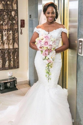 Off-the-shoulder Sexy Mermaid Lace Tulle Wedding Dress_2