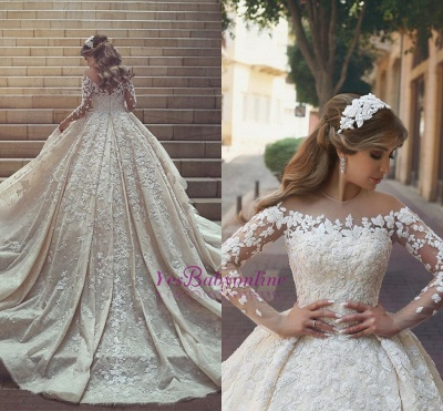 Tulle Crystal Long Sleevess Appliques Glamorous Wedding Dress_1