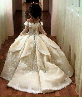 Luxury Ball Gown Flower Girl Dresses | Long Sleeves Girl Party Dresses_4