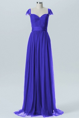 A-line Chiffon Tulle Bridesmaid dresses | Cap Sleeves Sweetheart Maid of the Honor Dresses_3