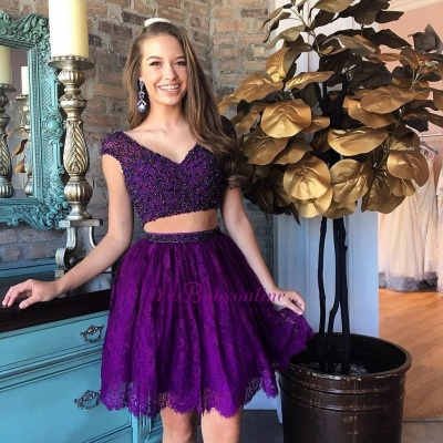 Purple Two-Piece Homecoming Dresses Capped Sleeves Lace Beaded Short Party Dress_3
