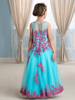 Cute A-Line Tulle Scoop Sleeveless Appliques Flower Girl Dress with Beading_3