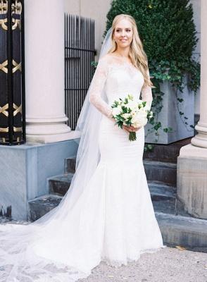Glamorous Long-Sleeve White Zipper Off-the-shoulder Mermaid Lace Wedding Dress_2