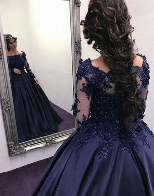 Scoop Long-Sleeves Lace Ball-Gown Elegant Prom Dresses_4
