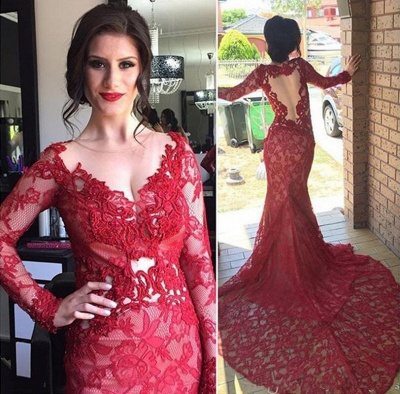 Chic Red Lace Evening Gowns Long Sleeves V-Neck Nude Lining Evening Dresses_2