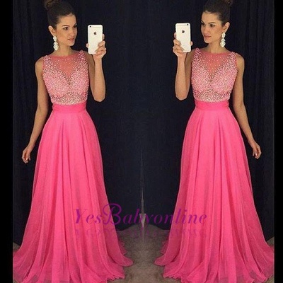 Fuchsia Beadings Sleeveless Newest  A-Line Prom Dress_1