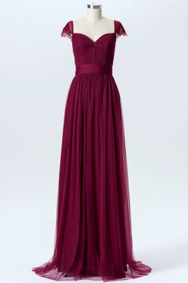 A-line Chiffon Tulle Bridesmaid dresses | Cap Sleeves Sweetheart Maid of the Honor Dresses_1