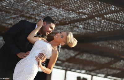 Luxurious Sweep Train Crystal Beading Mermaid Tulle Wedding Dress with Detachable Train_5