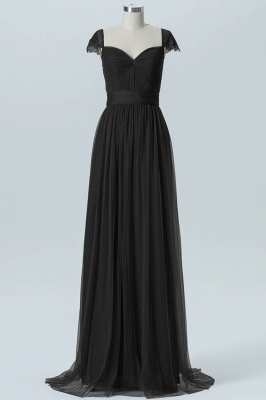 A-line Chiffon Tulle Bridesmaid dresses | Cap Sleeves Sweetheart Maid of the Honor Dresses_5