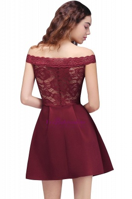 A-Line Off-the-shoulder Short Lace Burgundy Homecoming Dress_2