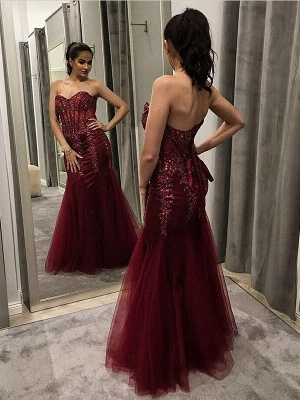 Mermaid Burgundy  Appliques Sweetheart Long Prom Dress with Sequins_3