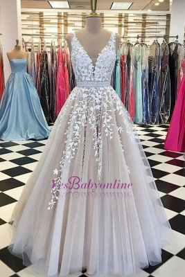 Sleeveless Chic Lace-Applique  Crystal Sashes A-Line V-Neck Prom Dresses_1