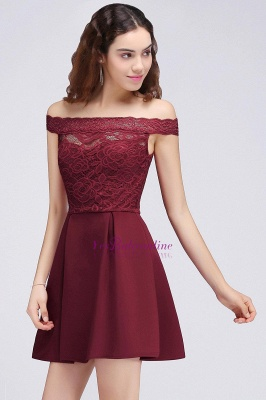 A-Line Off-the-shoulder Short Lace Burgundy Homecoming Dress_5