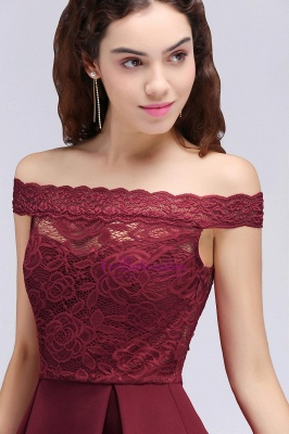 A-Line Off-the-shoulder Short Lace Burgundy Homecoming Dress_3