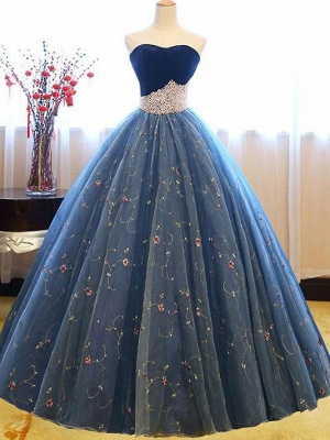 Exquisite Sweetheart Pearls Puffy Embroidery Prom Dresses_5