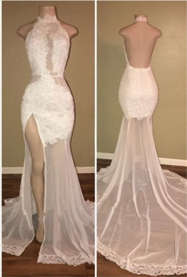 Elegant White Lace Halter Prom Dress Mermaid Backless Party Dress With Slit BA8228_1