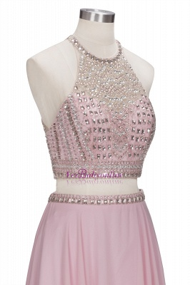 Floor-length Pink Crystals Delicate Two-piece A-line Evening Dress_5