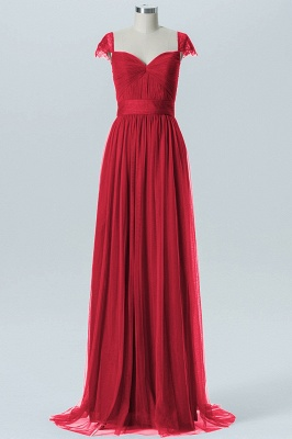 A-line Chiffon Tulle Bridesmaid dresses | Cap Sleeves Sweetheart Maid of the Honor Dresses_4