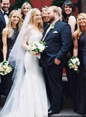 Glamorous Long-Sleeve White Zipper Off-the-shoulder Mermaid Lace Wedding Dress_5