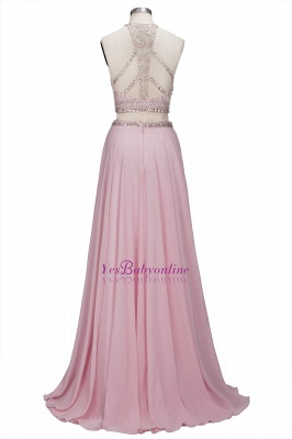 Floor-length Pink Crystals Delicate Two-piece A-line Evening Dress_3