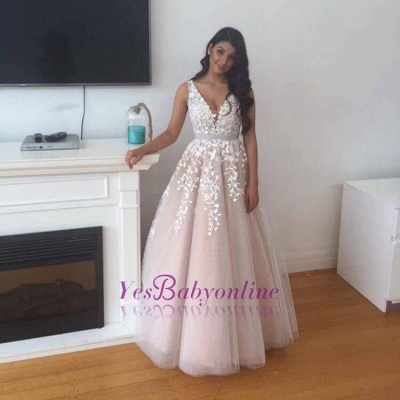 2019 Pink Prom Dress V-Neck Lace Appliques A-line Evening Gowns_1