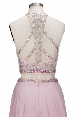 Floor-length Pink Crystals Delicate Two-piece A-line Evening Dress_6