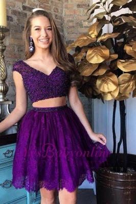 Purple Two-Piece Homecoming Dresses Capped Sleeves Lace Beaded Short Party Dress_2