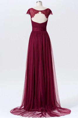 A-line Chiffon Tulle Bridesmaid dresses | Cap Sleeves Sweetheart Maid of the Honor Dresses_2