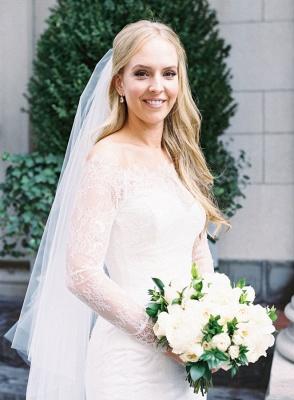 Glamorous Long-Sleeve White Zipper Off-the-shoulder Mermaid Lace Wedding Dress_3