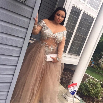 Tulle Crystal Split Stunning Long-Sleeve Plus-Size Prom Dress_4