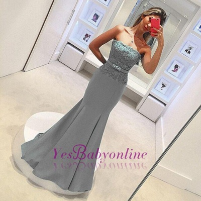 2019 Strapless Mermaid Prom Dresses Lace Bowknot Ruched Evening Gowns_1