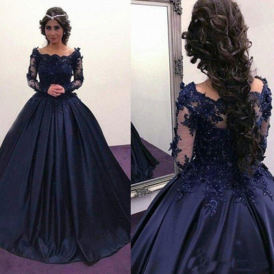 Scoop Long-Sleeves Lace Ball-Gown Elegant Prom Dresses_3