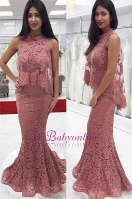 Floor-Length Lace Cute-Pink High-neck Mermaid Prom Dress_1