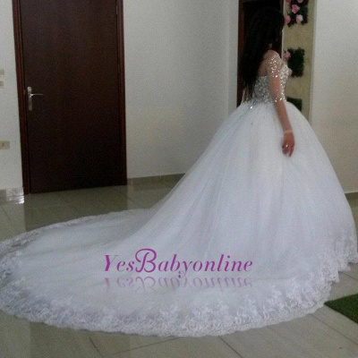 Glamorous Tulle Appliques Long Sleevess Ball Gown Crytal Wedding Dresses_1