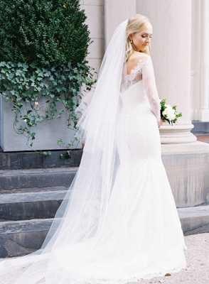 Glamorous Long-Sleeve White Zipper Off-the-shoulder Mermaid Lace Wedding Dress_6