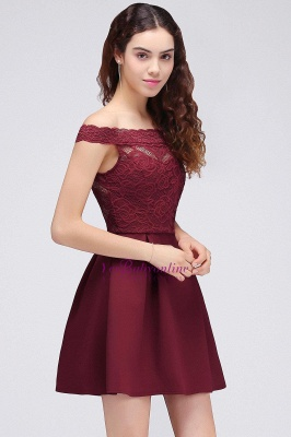 A-Line Off-the-shoulder Short Lace Burgundy Homecoming Dress_4