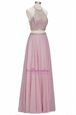 Floor-length Pink Crystals Delicate Two-piece A-line Evening Dress_4