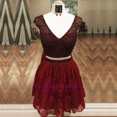 Purple Two-Piece Homecoming Dresses Capped Sleeves Lace Beaded Short Party Dress_4