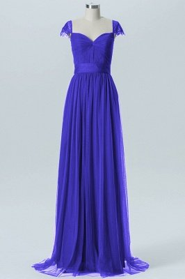 A-line Chiffon Tulle Bridesmaid dresses   Cap Sleeves Sweetheart Maid of the Honor Dresses_3