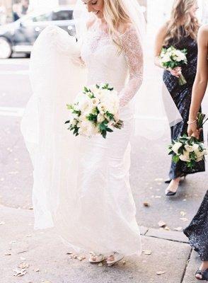 Glamorous Long-Sleeve White Zipper Off-the-shoulder Mermaid Lace Wedding Dress_4