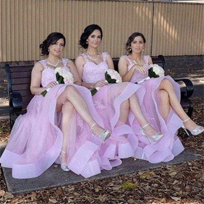 Appliques A-Line Straps Tulle Elegant Lace Bridesmaid Dresses_4
